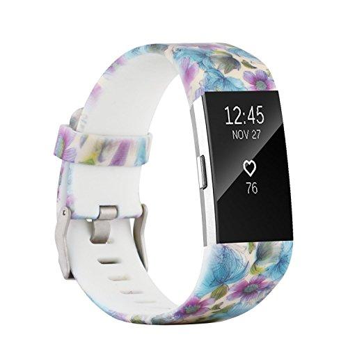 Fit-power - Correa de repuesto para Fitbit Charge 2, accesorio ajustable para pulsera de actividad física Fitbit Charge 2, pequeña y grande, Pattern M, Small Size