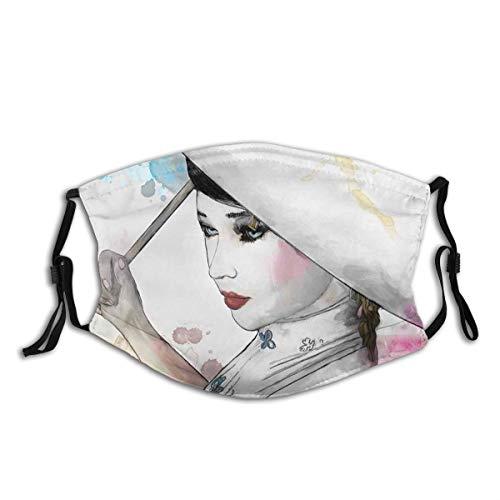 Gesichtsbedeckung Asiatische östliche Frau Mädchen mit orientalischen Regenschirm Zeichnung mit Aquarell und Pinselstriche Kunst Thema A. Sturmhaube Bandanas Halsmanschette mit 2 Filtern