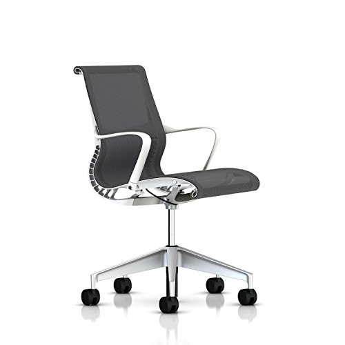 Herman Miller Setu Ergonomic Office Chair with Kinematic Spine | H-Alloy Base and Hard Floor Casters | Studio White Frame and Alpine Lyris Fabric