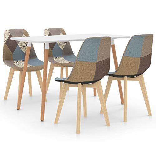 vidaXL Essgruppe 5-TLG. Esszimmergruppe Esstischset Tischset Sitzgruppe Esszimmertisch Esstisch mit 4 Stühlen Küchentisch Esszimmergarnitur Grau