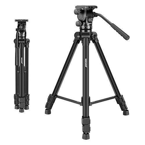 Neewer 66 Zoll Videostativ mit Fluidkopf - Leichtmetall Kamerastativ aus Aluminiumlegierung mit Schwenkkopf für DSLR Kamera, Videokamera und Camcorder, VT-1520