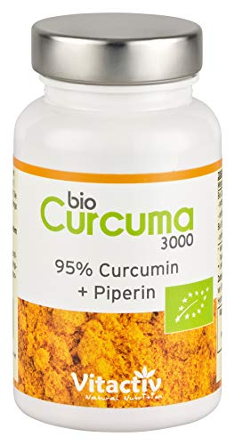 BIO CURCUMA 3000, hochdosierte ayurvedische Bio Kurkuma Kapseln, mit Piperin, sehr gute Bioverfügbarkeit, 95% Curcumin-Gehalt, entspricht 3000 mg Kurkuma-Pulver (60 Kapseln)