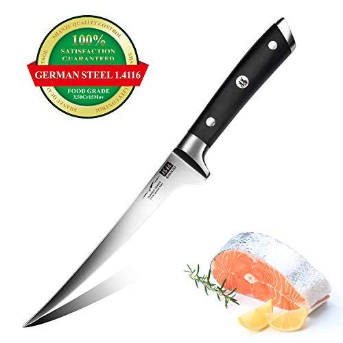 SHAN ZU Cuchillo de Filete 18 cm, Cuchillo para Pescado Profesional de 7 Pulgadas, Cuchillo de Filetear de Pescado Súper Afilado en Acero Inoxidable Alemán 1.4116, Mango de Madera Ergonómico