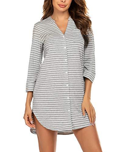 Balancora Damen Nachthemd Baumwolle Sleepshirt Streifen Geburt Stillnachthemd 3/4 Ärmel Gestreiftes Nachthemd