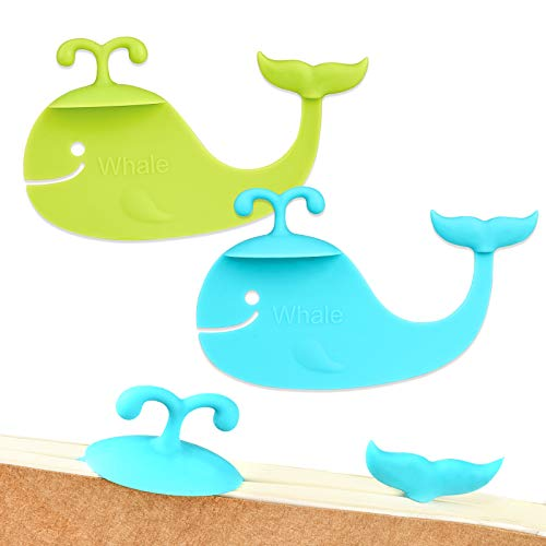 Cute Bookmarks, 3D Animal Whale Bookmarks, Silicone Pages Bookmarks for Women, Kids, Girls, Boys Students Reading (Blue, Green, 2pcs)
