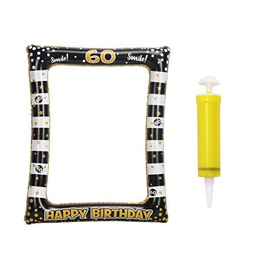 CINMOK 60 Anni Compleanno Cornice Selfie,Compleanno Decorazione Gonfiabile Cornice per Selfie Booth Puntelli Oro Nero Cornici per Foto Decorazioni per Feste Celebrazione Favore