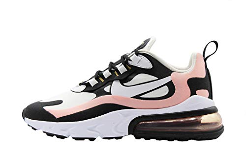 Nike Women's Air Max 270 React Casual Shoes, Black/Bleached Coral/Metallic Gold/White, 8