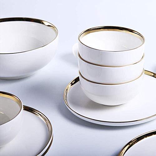 Plato de vajilla fácil de Colocar 15 mesas de Comedor en Estilo nórdico Vajilla de cerámica Plato de Cena Tazón de Sopa Juego de Plato de Ensalada para el hogar-Phnom Penh Set_8 Inc