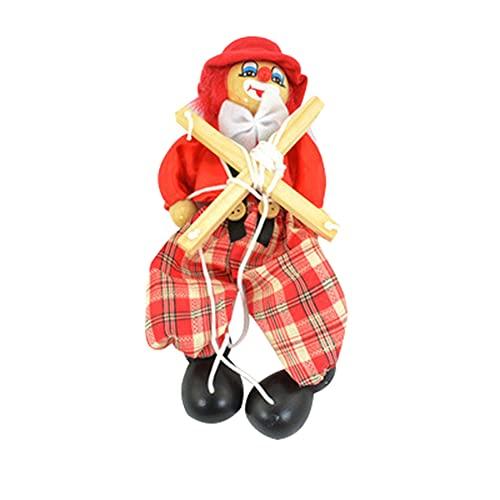 MediFancy Pull String Puppet Toy für Kinder, Handmarionette Marionette Marionette Spielzeug für Kinder Clown Holz Marionette Spielzeug für Eltern-Kind Interaktives Spielzeug, Rot