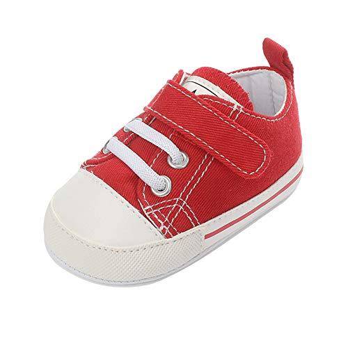 T- Baby Sneaker Canvas Kleinkind Slippers Outdoor Casual Shoes Espadrilles Halbschuhe Slip-On Schuhe Freizeitschuhe Laufschuhe Sportschuhe Jungen Mädchen Pre-Walker Schuhe (Rot, 12cm)
