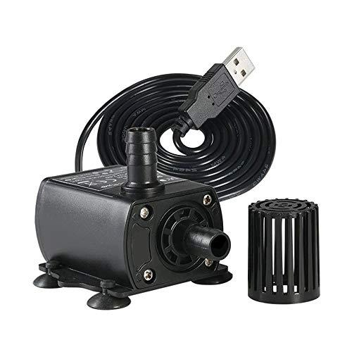 MEROURII Micro Tauchpumpe,DC Springbrunnen Wasserpumpe Wasserzirkulation USB Ultra Leise Wasserpumpe 300L/H DC5V 4.8W QR50B