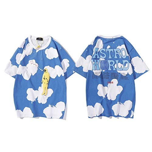 Astroworld - Maglietta da uomo e donna, Travis Scott Tie Dye Tee, Tour Astronauta Graffiti stampa manica corta, lettera Wish You were Here sciolta t-shirt Blu XXL