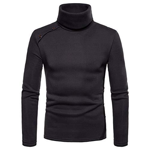 Pullover Men Basic Long Sleeve Slim Fit Tops Solid Color Elegant Turtleneck Button Top Warm Soft Light Sweatshirt Simple All-Match Sport Top XXL