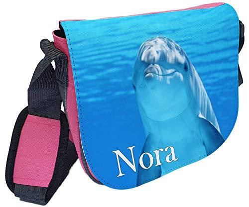 CreaDesign, Kindergartentasche Rosa mit (Wunsch) Name personalisiert, ideale Tasche für Kindergarten und Kindergrippe, Größe 20 x 19 x 8 cm, Motiv Delfin