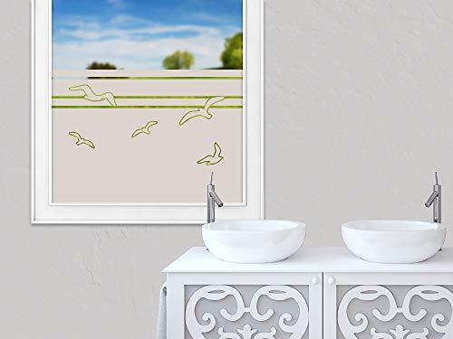 GRAZDesign Fensterfolie Badezimmer, selbstklebend Vögel Möwen Streifen maritim, zur Dekoration und Sichtschutz, Blickdichte Glasdekorfolie / 100x57cm