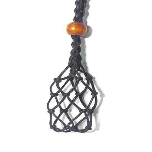 Collar Cordón Soporte de Piedra vacío, Cuarzo Collar de Piedra en Bruto Cordón de Repuesto Collar de Cuerdas con Soporte de Piedra Colgante de Longitud Ajustable (Azul Grande)