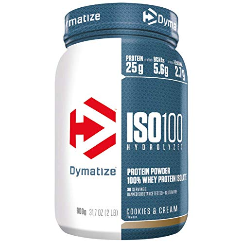Dymatize Iso 100 Isolato più Venduto del Mondo, per Prima e Dopo l'Allenamento, Biscotti e Crema - 900 g