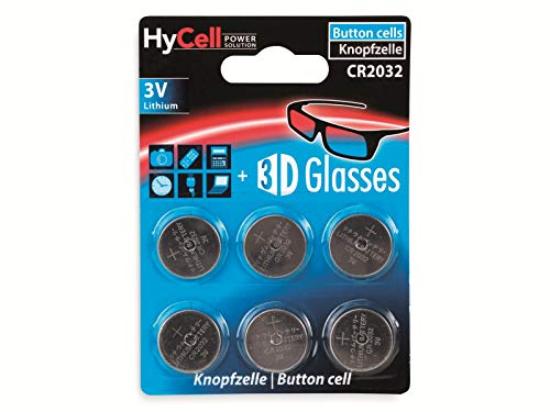 HyCell 6x CR2032 Batterie Lithium Knopfzelle 3V / Qualitativ hochwertige Knopfbatterien / Ideal für Autoschlüssel TAN-Gerät Taschenrechner Kinderspielzeug Fernbedienung Uhren etc.