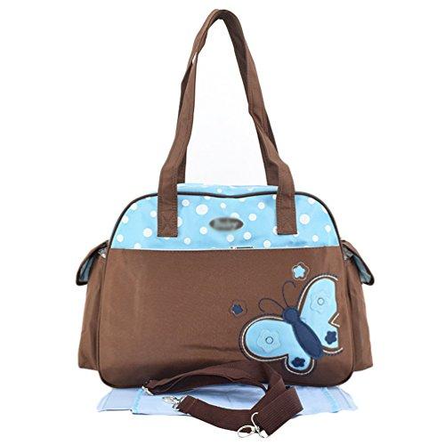 Jitong Linda Bolsa Maternales Multifunción Impresa Bolso Pañalera para Bebé Bolsos Cambiadores de Hombro (Azul, 41 * 17 * 30cm)