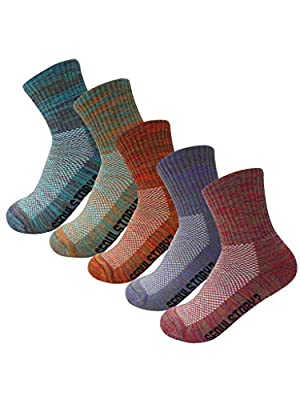SEOULSTORY7 5Pack Women's Mid Cushion Low Cut Hiking/Camping/Performance Socks Multi Color Small