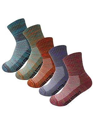 SEOULSTORY7 5Pack Women's Mid Cushion Low Cut Hiking/Camping/Performance Socks Multi Color Medium