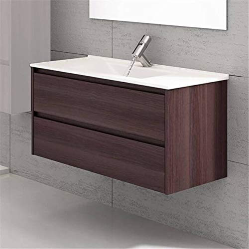 THERMIKET Mueble de Baño con Lavabo de Porcelana Suspendido - 2 cajones - Mueble va MONTADO - Modelo Ibiza (Fresno Tea, 60cm)