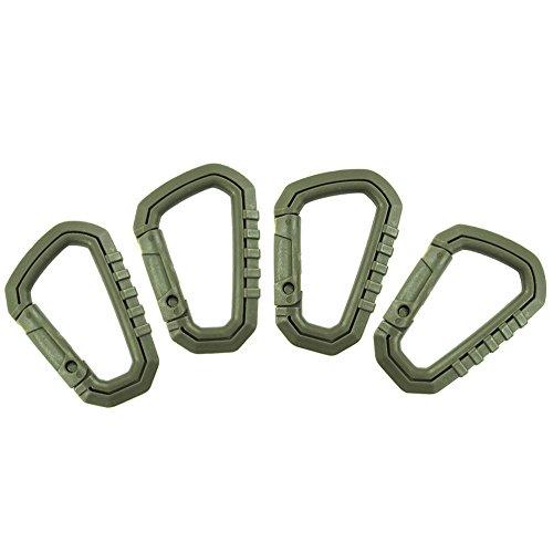 ZN Lot de 4 léger Crochet de suspension d'extérieur tactique Anneau en D Mousqueton Tactical Link Snap Porte-clés Sac à dos Accessoires, Homme femme, b