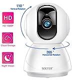 Cámara Domo de Seguridad WiFi 1080P, SDETER HD Home IP Wireless 2-Way Audio Detección de Movimiento Visión Nocturna...