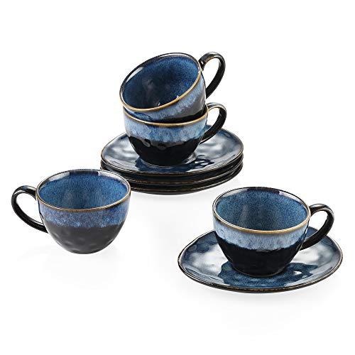 Vancasso Kaffeeservice Steingut, Starry 8 teiliges Kaffeeset für 4 Personen, Beinhaltet Kaffeetassen, Untertassen, Vintage Aussehen