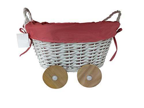 DISOK - Cesta De Mimbre En Forma De Carrito Rosa - Cestas de Mimbre para Detalles de Boda, Bautizos. Cestas para Llevar Regalos, regalitos Recuerdos Detalles Bautizos, Baby Shower, Niños, Cestos
