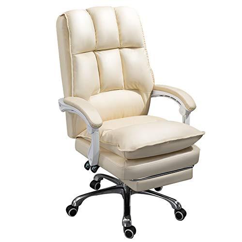 HUAYIN Leder Executive Office Chair, Computer Schreibtischstuhl Verdicktes Doppelschichtkissen Lendenwirbelstütze 3D Armlehne Drehbar Ergonomische Aufgabe Managerial Chair (Rindsleder),Beige