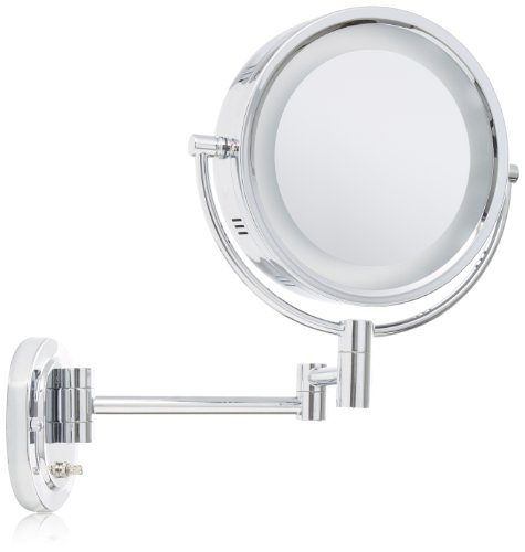 Jerdon HL65C 8-Inch Lighted Wall Mount Makeup Mirror with 5x Magnification, Chrome -