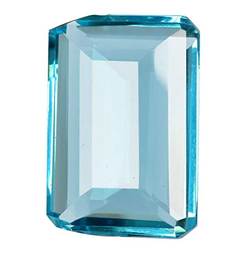 REAL-GEMS Glorious Topaz Loose Gemstone 101.00 Ct Finest Emerald Cut Swiss Blue Topaz for Pendant,Ring