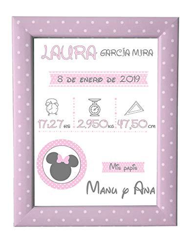 Kembilove Lámina Natalicia Personalizada Bebé – Lienzos Decorativos Personalizados Nacimiento Bebe – Incluye Lámina y Marco – Regalo para Recién Nacido