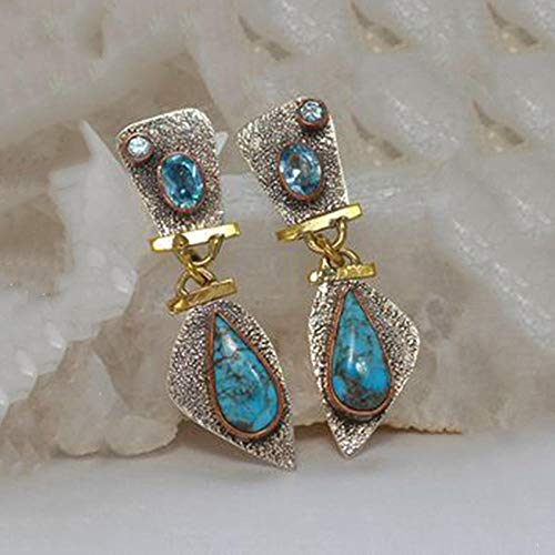 Erin Earring Pendientes De Turquesa De Color Plata Tibetana Vintage Pendientes Colgantes De Cadena De Piedra Azul Joyería Bohemia Femenina Z3D264