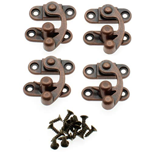 Antique Vintage Lock Clasp Right Latch Hook Hasp,LBTODH 4 Pack Zinc Alloy Hook Latch Swing Arm Latch Plated for Jewelry Box Cabinet Toolbox Suitcase with Mounting Screws(Red Bronze)