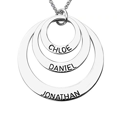 luckyid Custom Name Necklace Personalized Engravable 3 Disc 925 Silver with 3 Names Gifts for Birthday Anniversary Wedding Mother Wife Daughter Girls Girlfriend Ladies