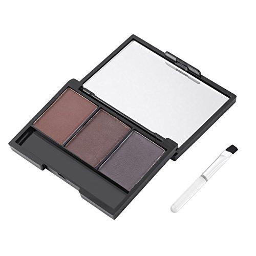 Cepillo para polvo de cejas, 3 colores, paleta de maquillaje en polvo mineral para pastel de cejas, juego de cosméticos de larga duración a prueba de agua con cepillo