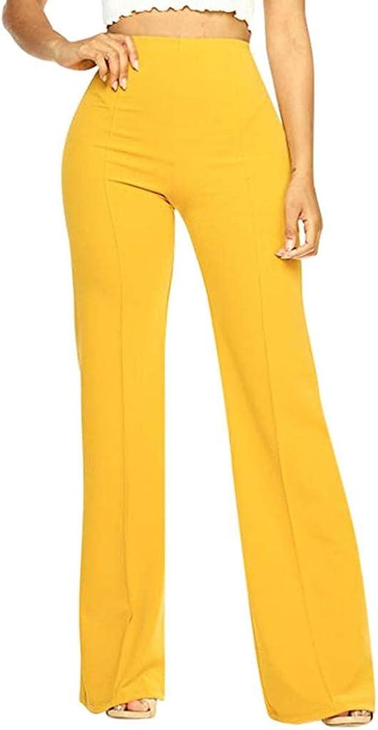 LEIYAN Womens Fashion Bell Bottom Pants Casual High Rise Wide Leg Dancing Bootcut Trousers Flares