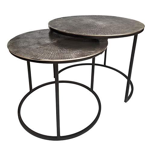 casamia Couchtisch Set 2-teilig Beistelltische Metall ø 55 u. 45 cm Tische Wohnzimmer rund Charles Aluminium versilbert