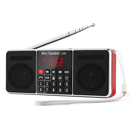 PRUNUS L-288 Radio portátil FM Am con Altavoz estéreo Bluetooth, Temporizador de Apagado, estación de Bloqueo, Tarjeta USB y TF y Reproductor de MP3 AUX - Rojo
