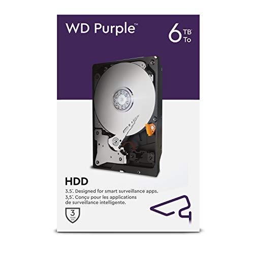 WD Purple 6 TB Disco duro interno para videovigilancia de 3,5 pulgadas, AllFrame 4K, 180 TB/año, caché de 64 MB, clase de 5640 r. p. m.