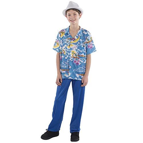 Viste a América del bebé azul de la camisa hawaiana y pantalones tropical traje traje de niño T Set
