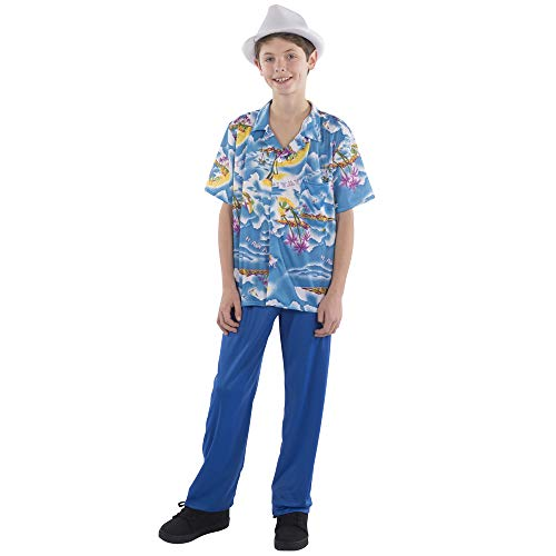 Dress Up America Unisex Baby Tropical Outfit Costume for Kids Kleinkind T-Shirt-Satz, Blau, Large 12-14 (36'' Waist, 53'' Height)