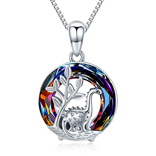 Dinosaur Necklace, 925 Sterling Silver Dinosaur Pendant with Crystal Necklace Cute Animal Dinosaur Jewellery Birthday Dinosaur Gifts for Women Girls Kids Best Friends