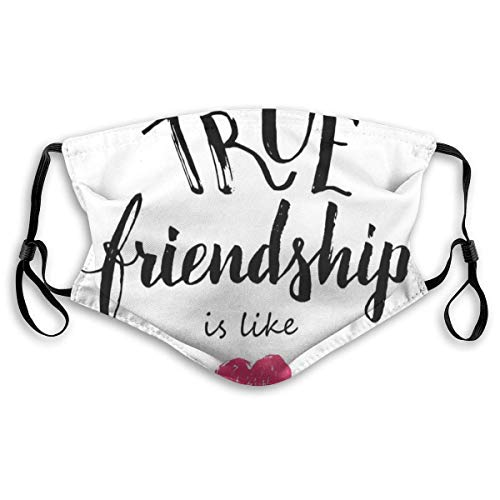 YYTT8 Gesichtsbedeckung Mundschutz Wahre Freundschaft ist wie EIN Schriftzug, der von einem rosa gekritzelten Herzsymbol vervollständigt Wird