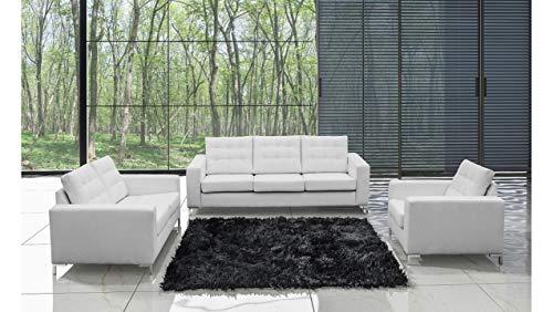 Stylefy Sun - Conjunto de muebles de sofá de piel sintética, color blanco