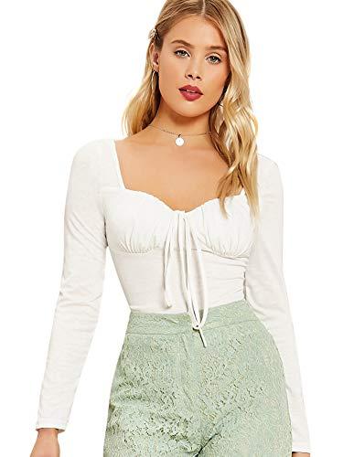 SOLY HUX Damen Bluse Einfarbig Trachtenbluse Herzausschnitt Blusen Langarmshirts Shirt mit Gürtel Rüschenbüste Oberteile Weiß XS