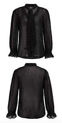 Rainnbowing 2019 FashionWomen Transparent Chiffon V-Neck Slim Sexy Blouse (Black, M) by Rainnbowing