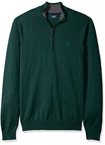IZOD Men's Premium Essentials Quarter Zip Solid 12 Gauge Sweater, Botanical Garden Legacy, Large